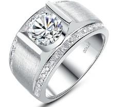 1 СТ бриллиант-линия завода непосредственно продажу синтетических алмазов кольца для мужчин обручальное кольцо монтаж серебряные ювелирные изделия(China (Mainland))