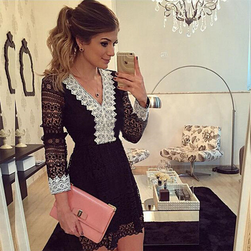 2016 new fashion women a-line Dress sexy black hollow out lace dresses casual long sleeve mini dess(China (Mainland))