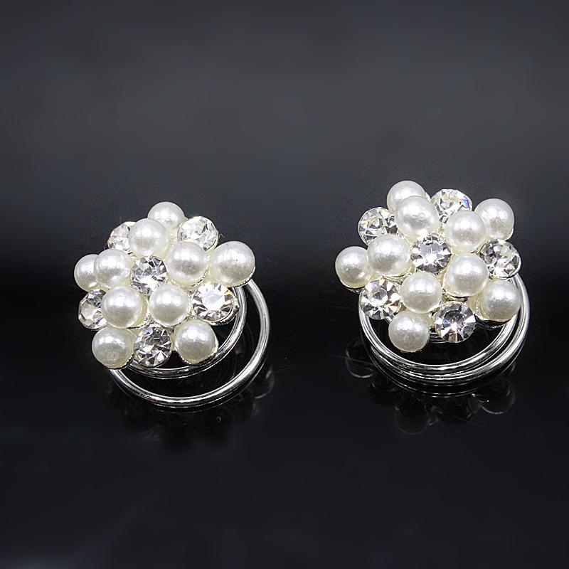 10 pcs Rhinestone Ball Swirl Spiral Wedding Twist Coils Pearl Hair Spin Pins Women Hair Jewelry Girls Accessories 786-3(China (Mainland))