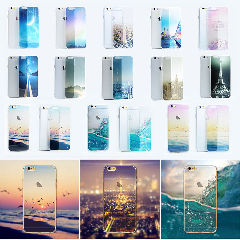 Snow Mountain Glacier Ocean City Scenery Case Cover For Apple iphone 5 5s SE 6 6s 6plus Case Aurora Meteor TPU Case For Phone(China (Mainland))