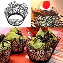 12pcs Cupcake Wrappers Liners for Halloween Decoration Laser Cut Cupcake Wrappers Decorations Event Party Supplies Wholesale(China (Mainland))