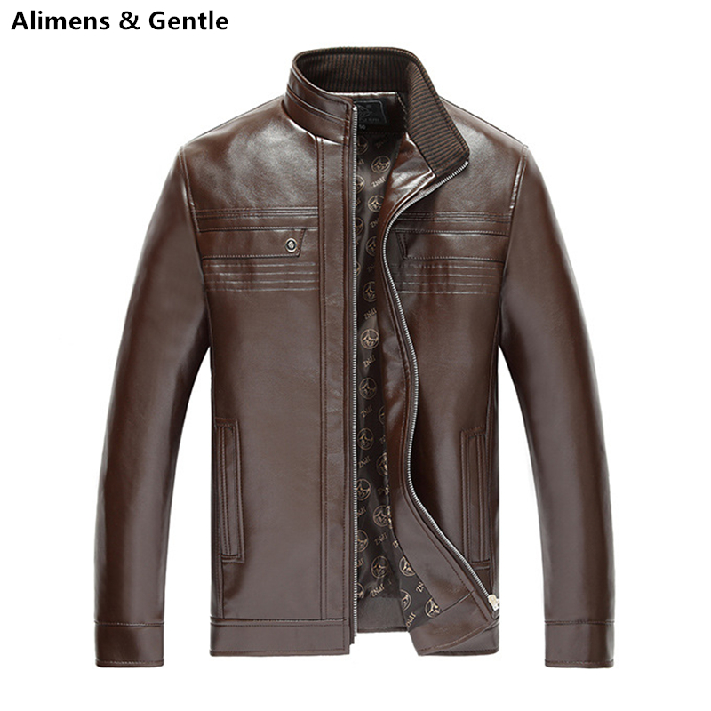 Plus Size Middle-aged Winter Leather Jacket Stand Collar OverCoat Casual Business Men Suede Handsome Color Brown Black Fashion(China (Mainland))