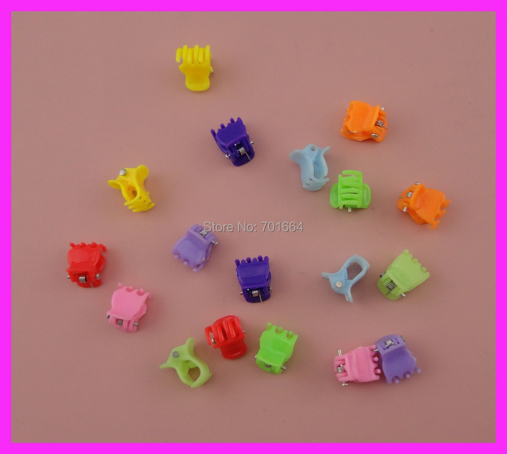 100PCS 1.0cm 10mm colorful mini cute plastic hair claw for hair decorative or hijabs ,Bargain for Bulk(China (Mainland))