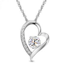 Free shipping, Zircon rhinestone necklace platinum fashion Women romantic day gift(China (Mainland))