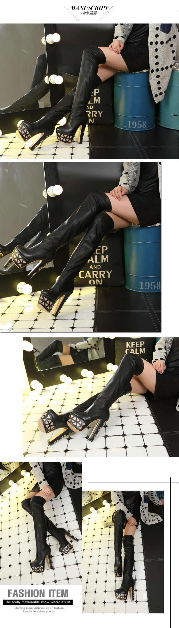 Discount Women's Winter New 15CM Over The Knee Boots Black White Chunky Heel Platform Shoes High Heels