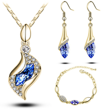 Top Quality Elegant luxury design new fashion 18k Rose Gold plated colorful Austrian crystal drop jewelry sets women gift g206(China (Mainland))