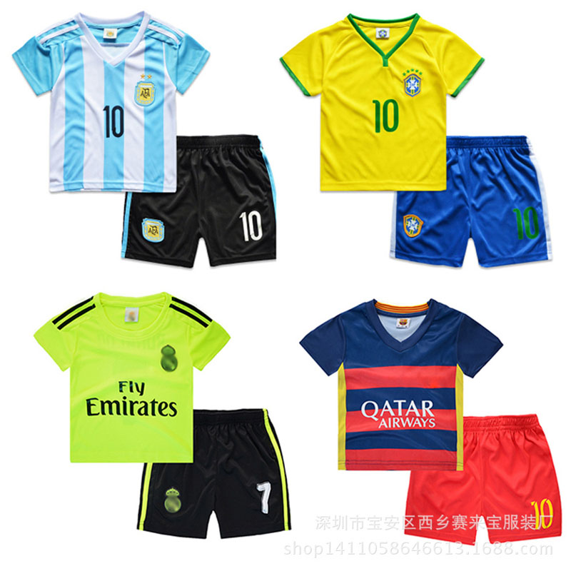 High quality breathable baby boy girls clothing set summer children s clothes boys sport kids football