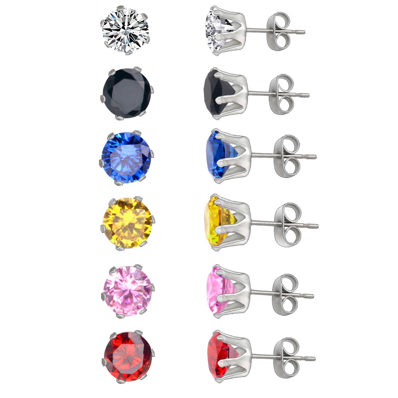 Girls Mixed Color Earrings Set,3mm,5mm,7mm Size  Stud Earring,stainless Steel Puchback Earrings