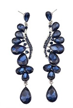 Luxury brand bridal blue sapphire crystals stones water drop leaves dangle earrings long jewelry earring for women wedding(China (Mainland))