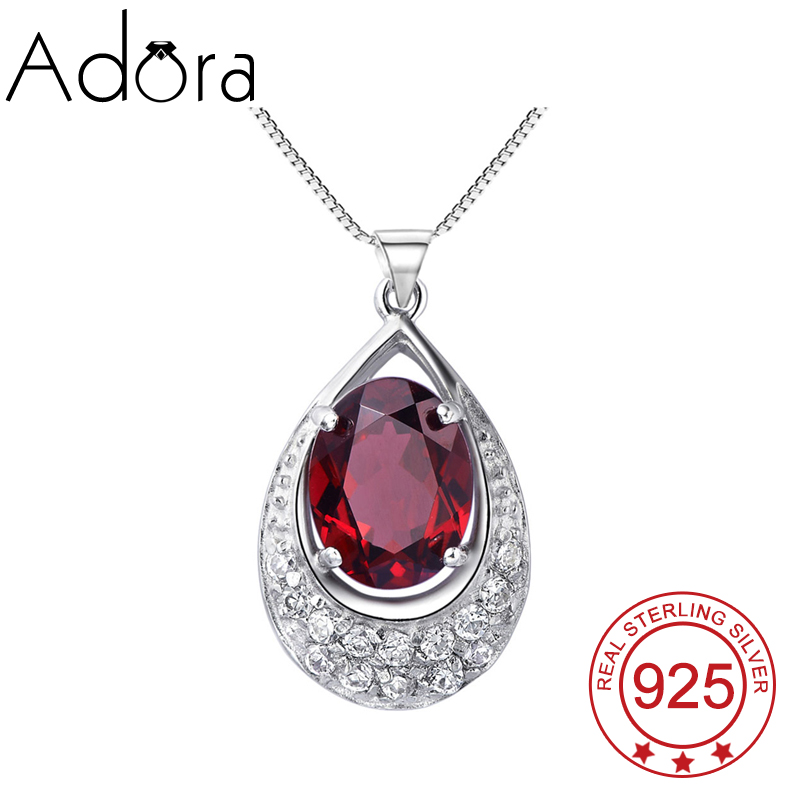 Luxury Princess Pure 925 Sterling Silver Platinum Plated Elegant Jewelry For Women Water Drop Ruby Crystal Pendants Necklaces(China (Mainland))