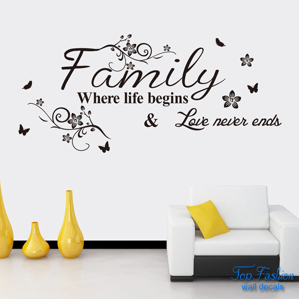 English Word Family living room sofa wall decals home decoration wallpaper painting Removable Wall Sticker home decor 75X34cm(China (Mainland))