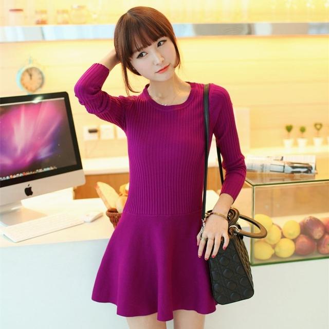 Новый женский мода осень зима плиссе средний - длинный пуловер женщины тонкий основной ...