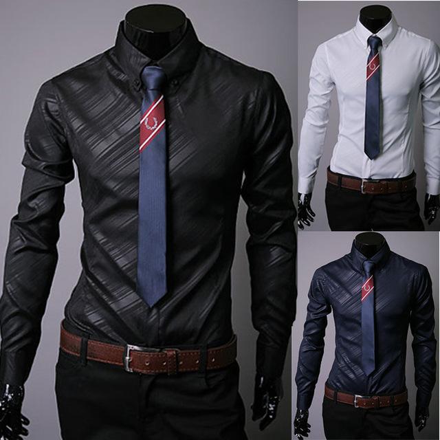 Новый дизайн 3 цветов мужские рубашки в полоску Американский и Европейский мужская ...
