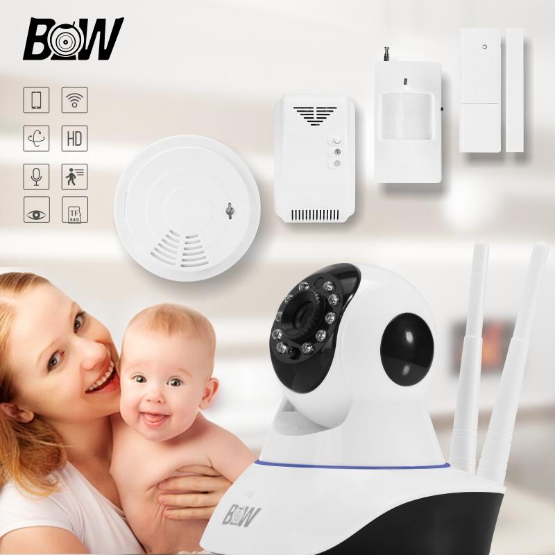 BW02D HOT HOME monitoring equipment SET IP camera+Remote Control+Door Sensor+Infrared Motion Sensor+Smoke Detector+Gas Detector<br><br>Aliexpress