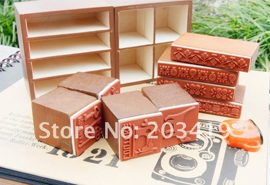 Wooden vintage stamper drawer Stamps set seal DIY diary carved gift decor craft scrapbook toy 2 option wholesale(China (Mainland))