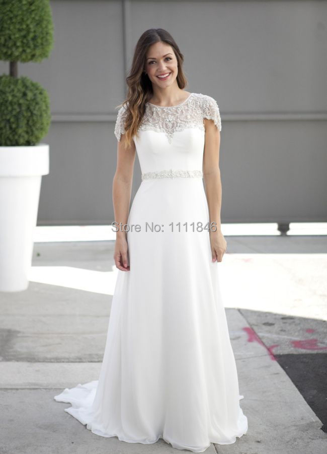 2015 latest chiffon beach wedding dress plus size capped for Plus size beaded wedding dresses