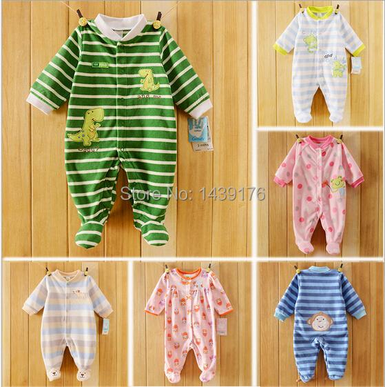 2015 New ! Baby clothing Newborn baby rompers fleece children pajamas baby pajamas spring autumn baby boys girls rompers(China (Mainland))