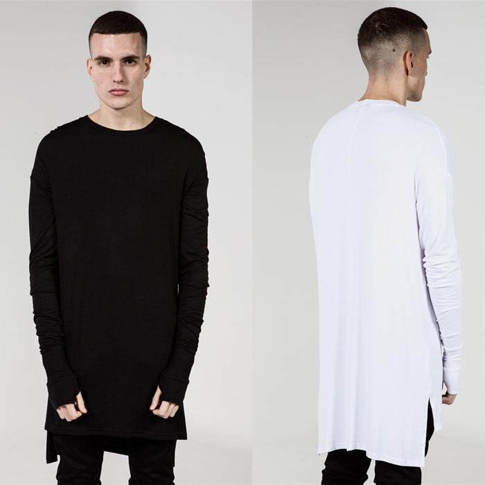 2016 New Thumb Hole Cuffs Long Sleeve Tyga Swag Style Man High Low Side Split Hip Hop Top Tee T Shirt Crew T-shirt Men Clothes(China (Mainland))