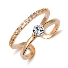 Free Shipping Brand Designer CZ Diamond White Gold Plated Double Zircon Crystal Rings Fashion Jewelry Girlfriend Gift 2014 M12(China (Mainland))