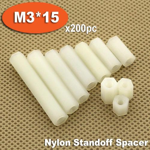 200pcs M3 x 15mm White Plastic Nylon Hexagon Hex Female Thread Nuts Standoff Spacer Pillars<br><br>Aliexpress