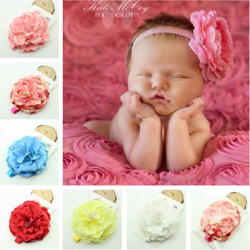 Baby girls flower headband Large peony headband Boutique headband photography prop 12pcs HB192(China (Mainland))