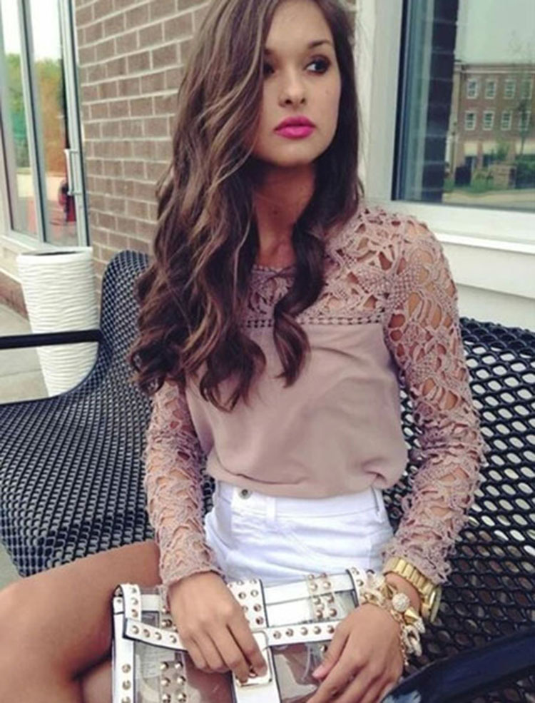 Lace Hollow Out Women Blouse Blusas Fashion Autumn Winter Blouse Long Sleeve Career Clothing Chiffon Top Ladies Plus Size RY0323(China (Mainland))