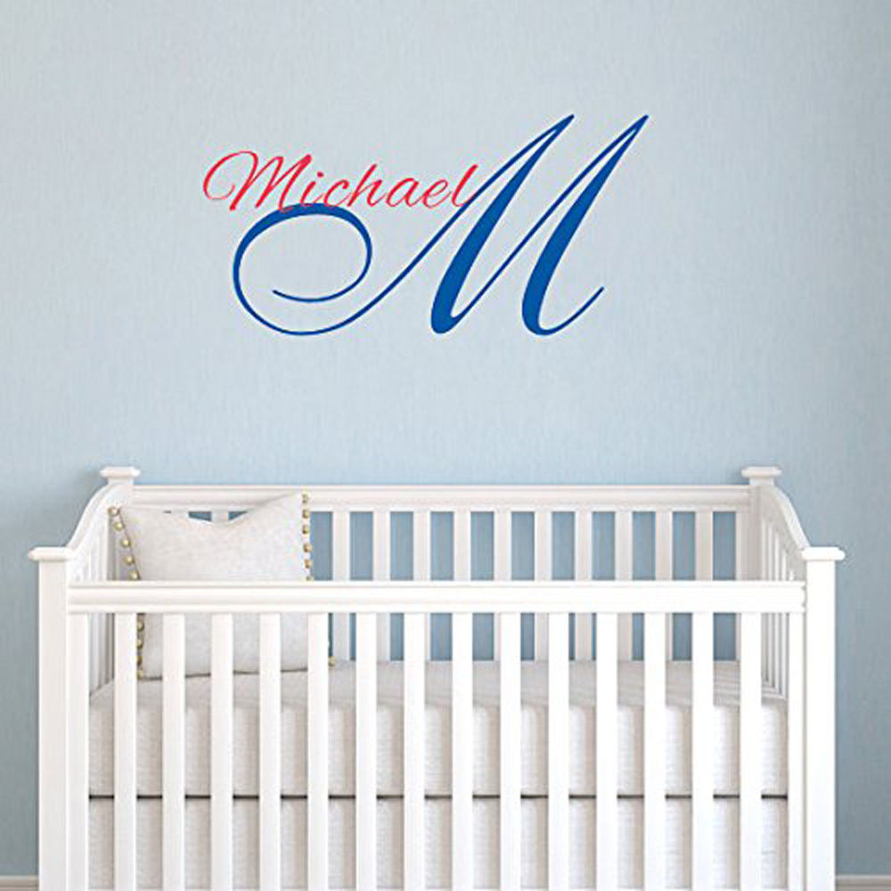 Wall Decal Children Personalized Name Michael Boys Name Monogram Nursery Decor ws119 free shipping(China (Mainland))