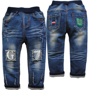 3846 navy blue casual pants jeans baby boys autumn spring girls trousers soft denim not fade new kids jeans child