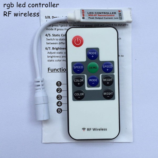 20pcs dc12V 24V 6a wireless mini rf rgb led remote controller with DC port connector for led strips 3528 and 5050 free shipping(China (Mainland))
