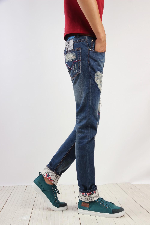 Скидки на Оптовая и розничная новые марка дыру разорвал узкие джинсы Потертые Мужчины прямые тонкие брюки джинсовые прямые Тонкий байкер брюки # TSE04