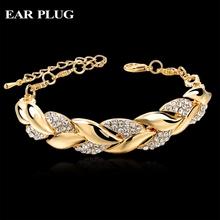 Braided Gold Leaf Bracelets & Bangles With Stones Luxury Crystal Bracelets For Women Wedding Turkish Jewelry Pulseras Sbr140296(China (Mainland))