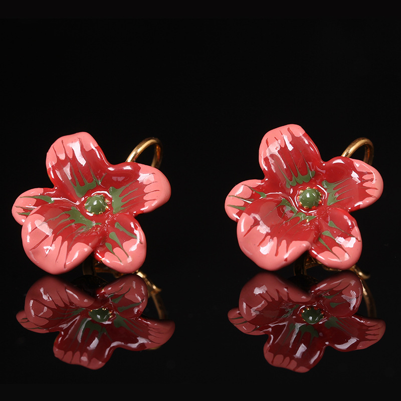 France Les Nereides Red Flower Stud Earrings For Women Elegant Simple All-match Brand Jewelry(China (Mainland))