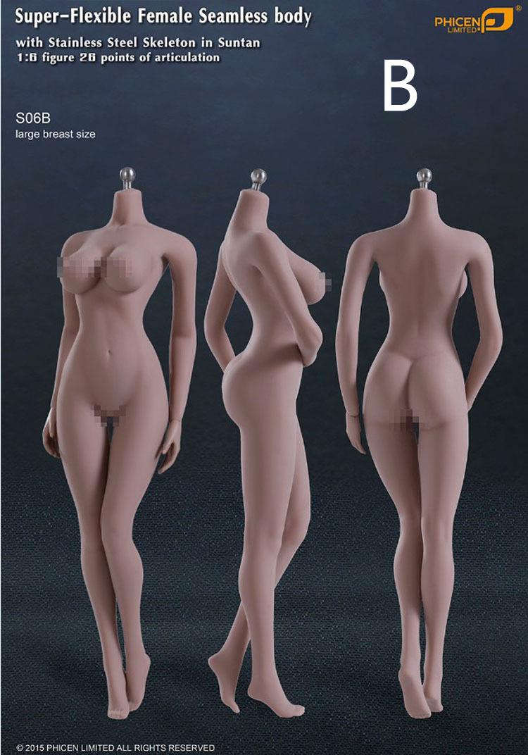 Phicen 1/6 S09A Flexible Female Seamless_ Large Breast Size Suntan Body