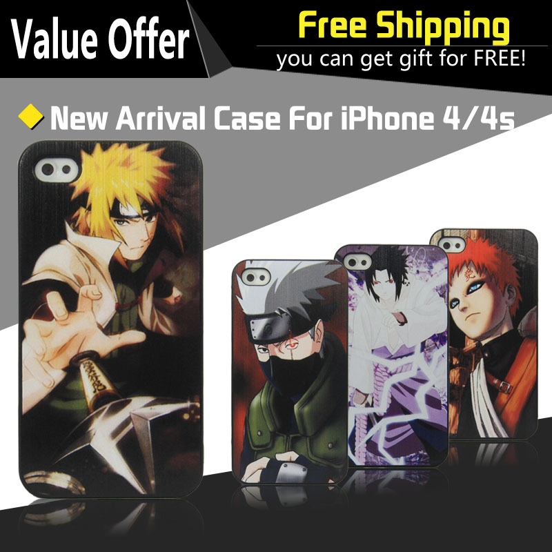 1pcs FreeShipping Fashion Anime Naruto Cartoon Case Cover For apple i Phone iphone4s iphone4 4g iPhone 4 4s Mobile Phone Case(China (Mainland))