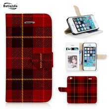 Tartan Design Case For iPhone 5S 5 Book Style Flip Wallet PU Leather Cover Case For Apple iPhone SE Phone Case Cover