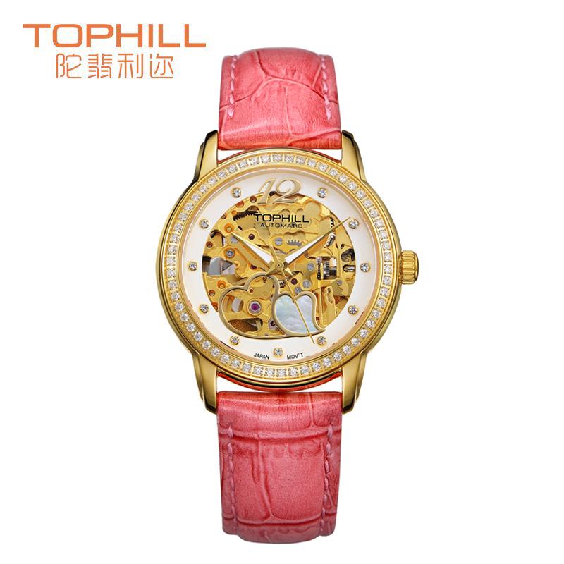 Здесь можно купить  Tophill Automatic Self Wind Woman 21 Jewel Stainless Steel Diamond Accented Skeleton Leather Watch Waterproof Watch    Ювелирные изделия и часы