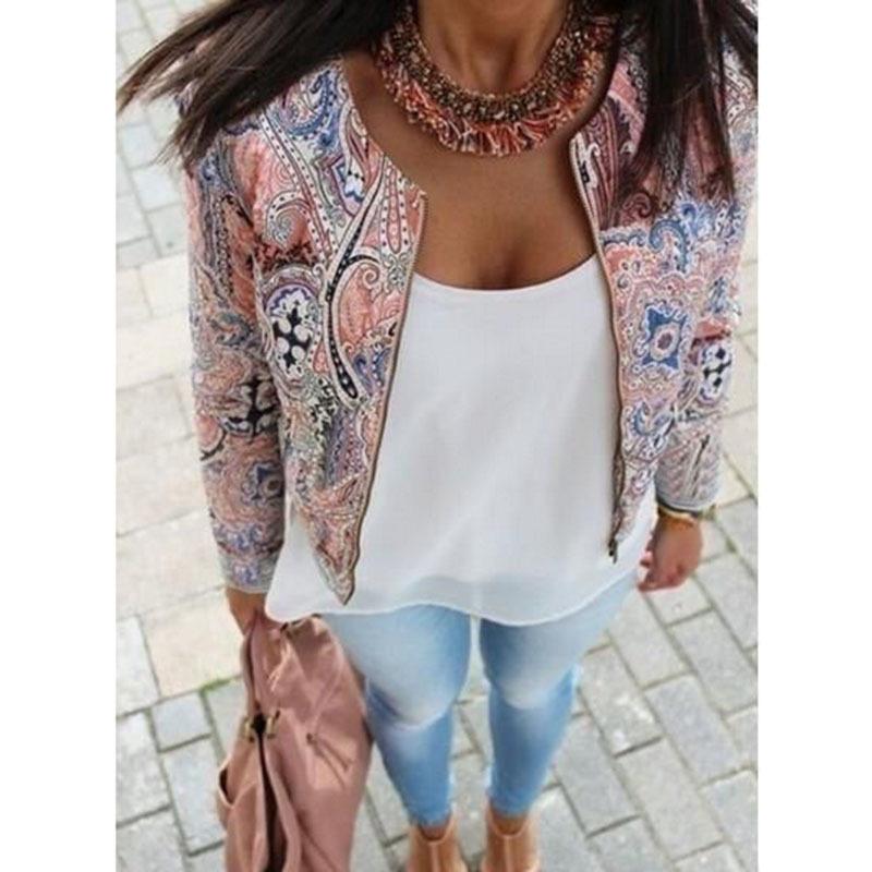 2015 spring autumn women jacket short paragraph vintage printed jackets women fashion simple zipper casaco feminino coat WF-9569(China (Mainland))