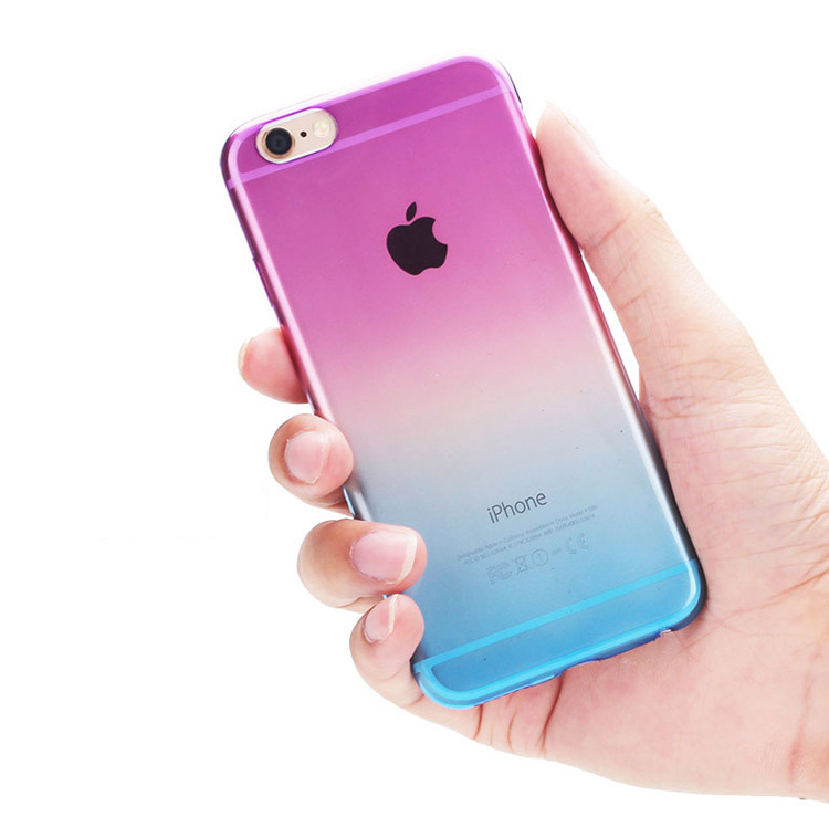 2016 New No Top Quality Phone Cases For Apple For Iphone 6 6s Case Transparent Gradient Color Design Tpu Covers Shell Capa 4.7(China (Mainland))