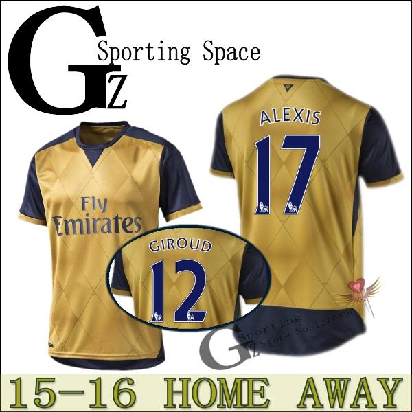 WALCOTT new away shirt 15 16 Jersey Home 2015 2016 Soccer Jersey ALEXIS FLAMINI GIROUD WILSHERE football shirt Soccer ARTETA(China (Mainland))