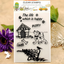 Scrapbook DIY photo cards account rubber stamp clear stamp transparent stamp Pet PUPPY Dog Pet House Fences 11x16cm KW651412(China (Mainland))