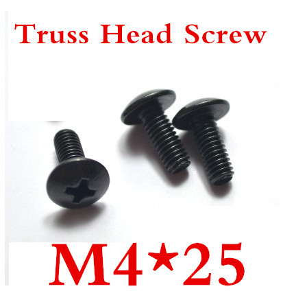 100PS/LOT High Quality Steel With Black M4*25 Truss Head Screw<br><br>Aliexpress