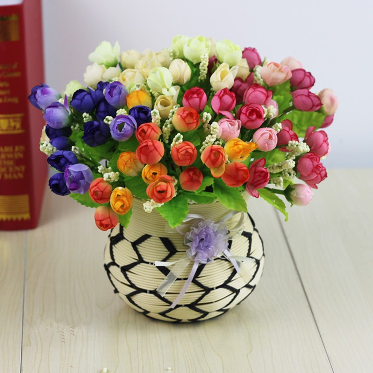 Colorful Silk Flowers artificial flower 15 heads Mini Rose Home Decor for wedding small roses bouquet decoration (25)