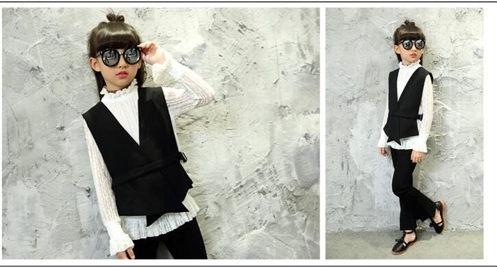 Скидки на ГОРЯЧАЯ! 2017 Хан издание cuhk детская новая девушка весной и осенью марли с длинным рукавом жилет ma3 jia3 три костюмы