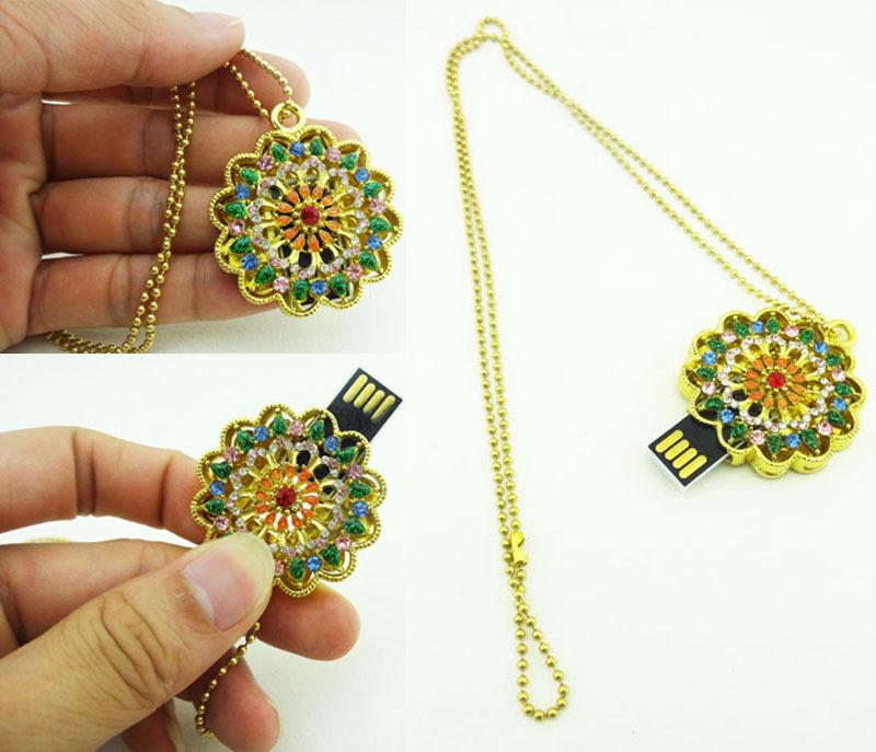 Jewelry crystal necklace pen drive round petunias model USB flash drive Pen memory U disk 4GB 8GB 16GB 32GB USB 2.0(China (Mainland))