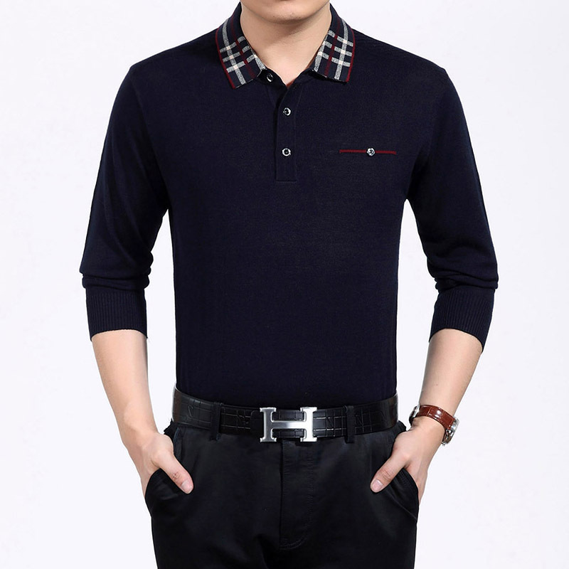 Long Sleeve Solid Mens Golf Shirts Silky Cotton Golf