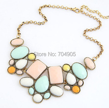 CHENXI Wholesale 2014 New Fashion Jewelry Five Colors Geometric Polygon Good Quality Alloy Women Necklace For Free Shipping(China (Mainland))