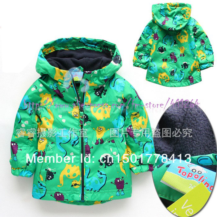 (2-4Y) Topolino boys full lined hooded windbreaker boys hoodies coat infant outerwear Dinosaur baby jacket free shipping(China (Mainland))