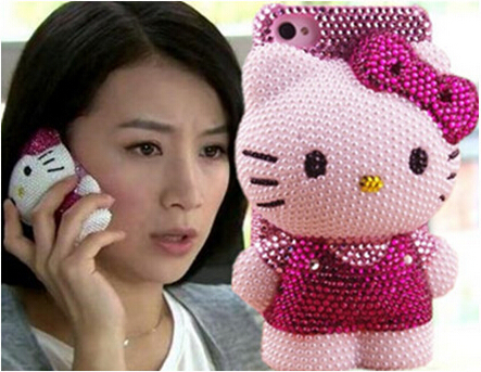 Fashion DIY 3D Cute Hello Kitty Phone Protect Back Cover Gift Luxury Bling Rhinestone Cell Phone Case For iPhone For iPhone 5 5s(China (Mainland))