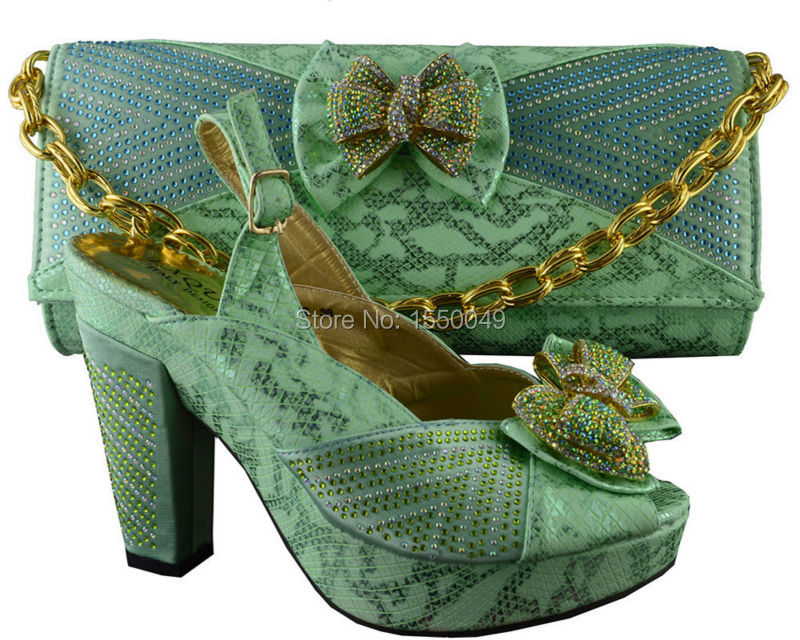 Free shipping by DHL,wholesale italian design Lady shoes with evening bag African lady high quality platfrom water green B8012<br><br>Aliexpress