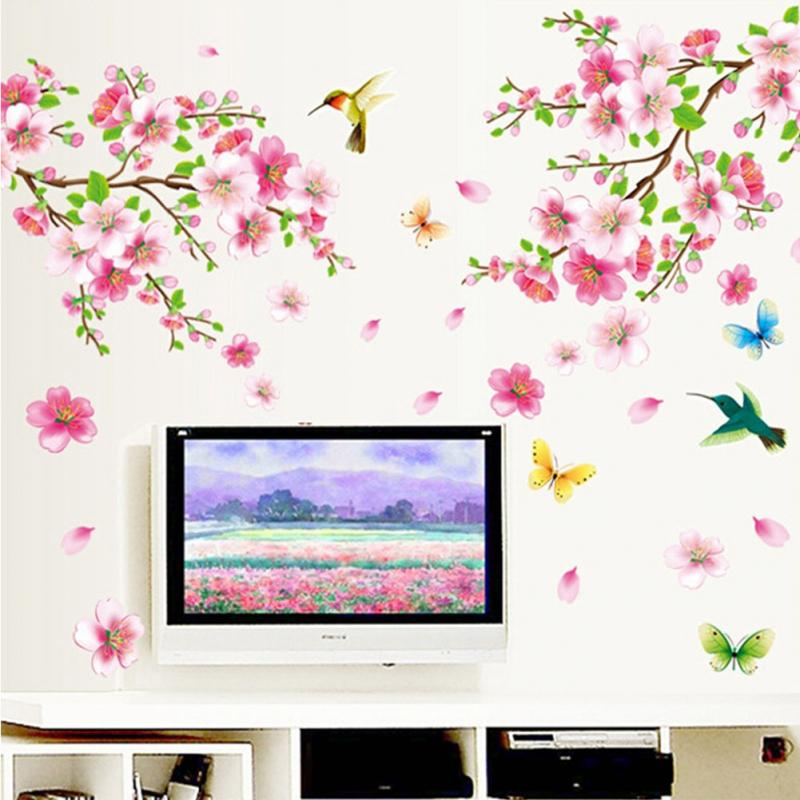 Butterfly cherry blossom flower tree branch wall decals decor kids baby stickers in wall - Decorative wall sticker ...